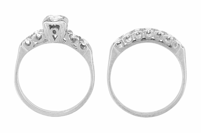 Mid Century Vintage Diamond Engagement Ring and Wedding Ring Set in 14 Karat White Gold - Item R737 - Image 1