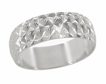 Mid Century Vintage Starbursts Engraved Wedding Band in 14 Karat White Gold | 1950s Wide Ring