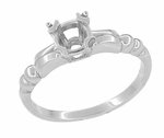 Mid Century Vintage Style 1/3 Carat Engagement Ring Mounting in 14 Karat White Gold