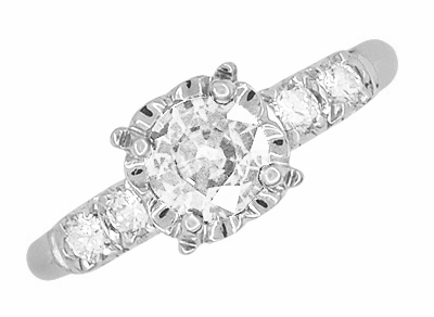 Mid Century Vintage Style Diamond Engagement Ring in 14 Karat White Gold - Item R728WD - Image 2