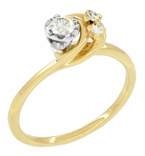 Moon and Stars Bypass Vintage Diamond Engagement Ring in 14 Karat Yellow Gold - Item R845 - Image 1