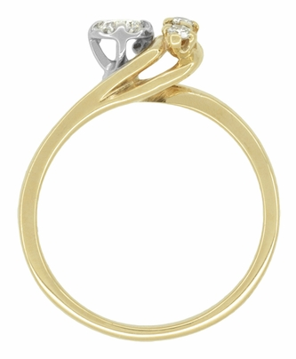 Moon and Stars Bypass Vintage Diamond Engagement Ring in 14 Karat Yellow Gold - Item R845 - Image 4