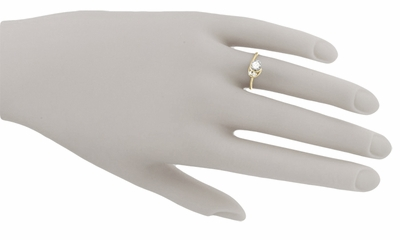Moon and Stars Bypass Vintage Diamond Engagement Ring in 14 Karat Yellow Gold - Item R845 - Image 5