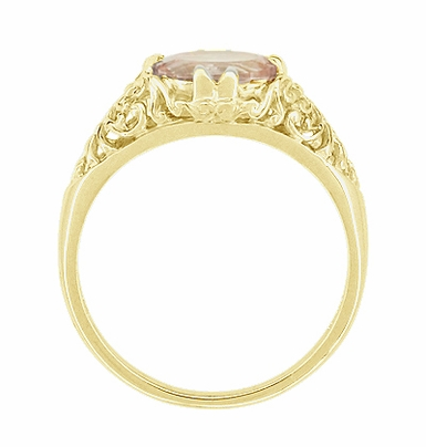 Morganite East West Oval Filigree Edwardian Engagement Ring in 14 Karat Yellow Gold - Item R799YM - Image 3