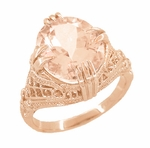 Morganite Oval Art Deco Filigree Ring in 14 Karat Rose Gold
