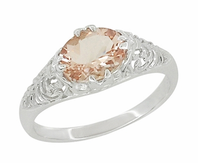 Morganite Oval East West Filigree Edwardian Engagement Ring in 14K White Gold - Item R799M - Image 1