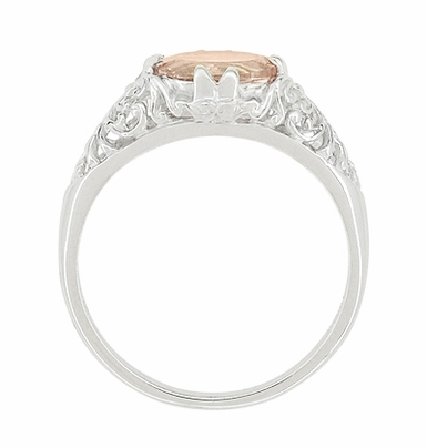 Morganite Oval East West Filigree Edwardian Engagement Ring in 14K White Gold - Item R799M - Image 3