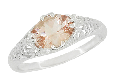 Morganite Oval East West Filigree Edwardian Engagement Ring in 14K White Gold