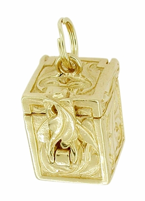 Movable Box of Dreams Pendant in 14 Karat Gold - Engraved Box Charm - Item C253 - Image 1