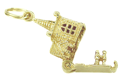 Movable Church and Steeple with Little People Charm in 14 Karat Gold