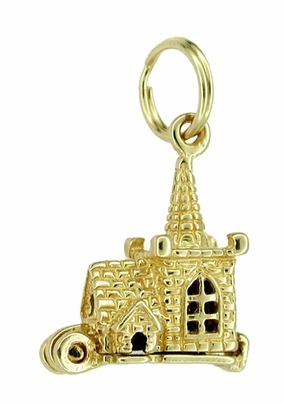 Movable Church and Steeple with Little People Charm in 14 Karat Gold - Item C137 - Image 1