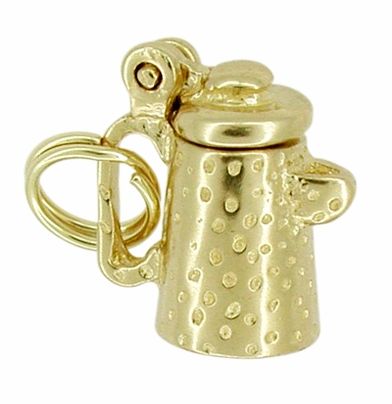 Movable Coffee Pot Charm in 14 Karat Gold - Item C257 - Image 1