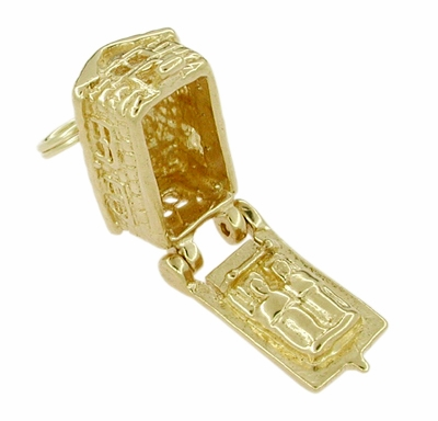 Movable Cozy Cabin Charm in 14 Karat Gold - Item C254 - Image 1
