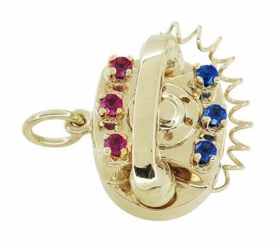 Movable Gemstone Set Telephone Charm in 14 Karat Yellow Gold - Item C596 - Image 1