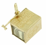 Movable Mad Money Charm in 14 Karat Gold | Vintage 1960s Emergency Dollar Pendant
