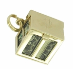 Movable Money Vault Charm in 14 Karat Gold | 1950s Vintage Dollar Box Pendant