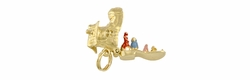 Movable Old Woman in A Shoe Charm in 14 Karat Gold