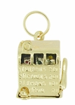 Movable Slot Machine Charm in 14 Karat Gold | Vintage Old Time Slot Pendant