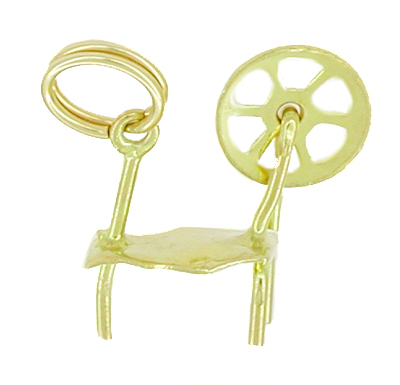 Movable Spinning Wheel Charm in 10 Karat Gold