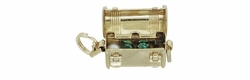 Movable Treasure Chest with Jewels Inside Charm Pendant in 14K Gold