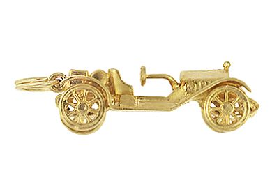 Moveable Antique Roadster Car Charm in 14K Yellow Gold | Vintage Car Pendant