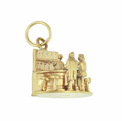 Moveable Bartender, Bar and Customer Vintage Charm in 14 Karat Yellow Gold - Item C665 - Image 1