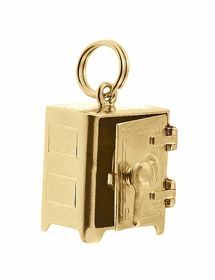 Moveable Safe Vault Charm in 14 Karat Yellow Gold - Item C695 - Image 1