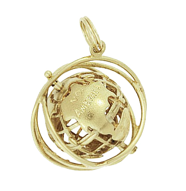 Moveable Vintage 1964 World�s Fair Unisphere Globe Pendant Charm in 14 Karat Yellow Gold