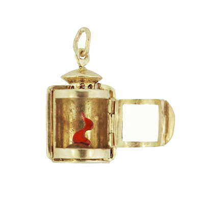 Moveable Vintage Lantern Charm in 18 Karat Yellow Gold
