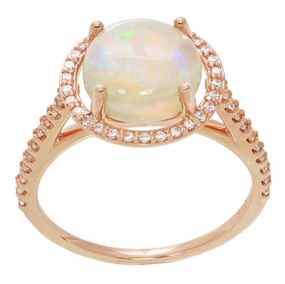 Natural Translucent Opal Halo Ring in 14 Karat Rose Gold with Diamonds - Item R1218RO - Image 1