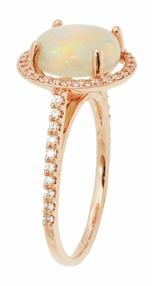 Natural Translucent Opal Halo Ring in 14 Karat Rose Gold with Diamonds - Item R1218RO - Image 2