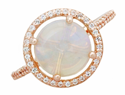 Natural Translucent Opal Halo Ring in 14 Karat Rose Gold with Diamonds - Item R1218RO - Image 3