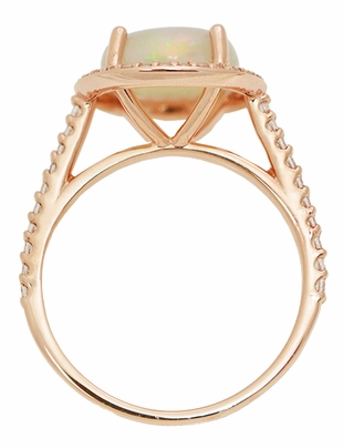Natural Translucent Opal Halo Ring in 14 Karat Rose Gold with Diamonds - Item R1218RO - Image 4