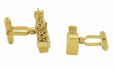 Oil Derrick Cufflinks in Sterling Silver with Yellow Gold Vermeil - Item SCL136Y - Image 1