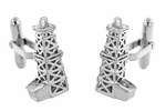Oil Rig Cufflinks in Sterling Silver - Oil Derricks
