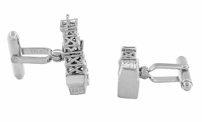 Oil Rig Cufflinks in Sterling Silver - Oil Derricks - Item SCL136W - Image 1
