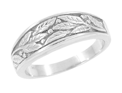 Carved Olive Leaves Mens Tapered Ring in 14K White Gold - 6.8mm Wide
