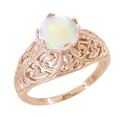 Opal Filigree Ring in 14 Karat Rose ( Pink ) Gold