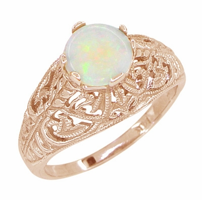 Opal Filigree Ring in 14 Karat Rose ( Pink ) Gold - Item R137RO - Image 1