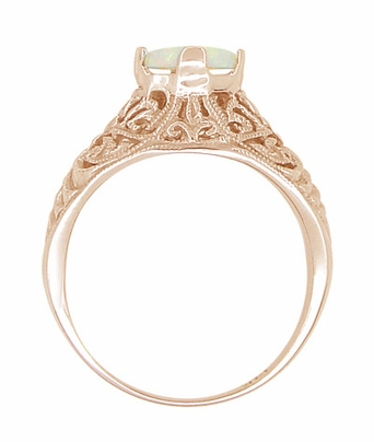 Opal Filigree Ring in 14 Karat Rose ( Pink ) Gold - Item R137RO - Image 3