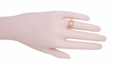 Opal Filigree Ring in 14 Karat Rose ( Pink ) Gold - Item R137RO - Image 4
