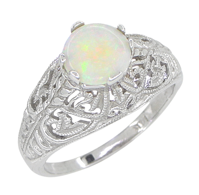 Edwardian Opal Filigree Ring in 14 Karat White Gold