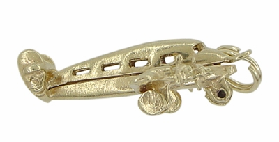 Opening Movable Passenger Airplane Pendant in 14 Karat Gold | 1950's Vintage Plane Charm - Item C509 - Image 2