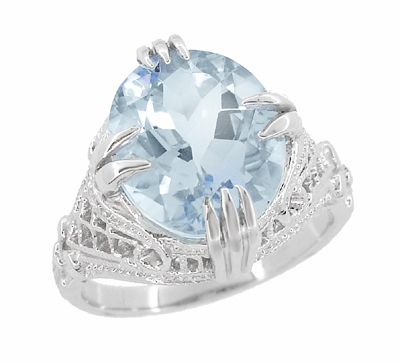 Oval Aquamarine Art Deco Filigree Ring in Platinum - March Birthstone - Item R157PA - Image 1