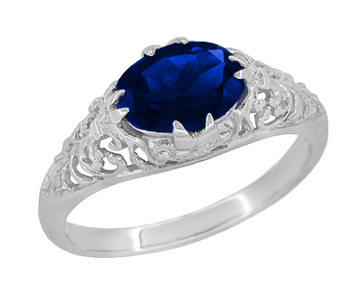 Oval Lab Created Blue Sapphire Filigree Edwardian Promise Ring in Sterling Silver