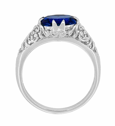 Oval Lab Created Blue Sapphire Filigree Edwardian Promise Ring in Sterling Silver - Item R1125S - Image 2