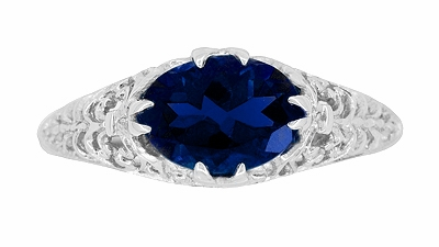 Oval Lab Created Blue Sapphire Filigree Edwardian Promise Ring in Sterling Silver - Item R1125S - Image 3