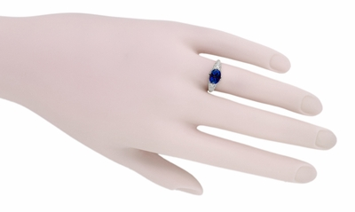 Oval Lab Created Blue Sapphire Filigree Edwardian Promise Ring in Sterling Silver - Item R1125S - Image 4