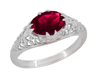 Filigree Edwardian Oval Ruby Promise Ring in Sterling Silver | 1.70 Carats