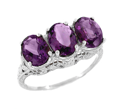 Oval Trio Amethyst Filigree Ring in 14 Karat White Gold